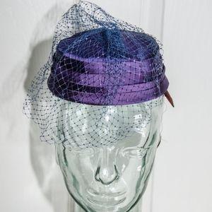 1960's Purple Satin Pill Box Hat with Netting